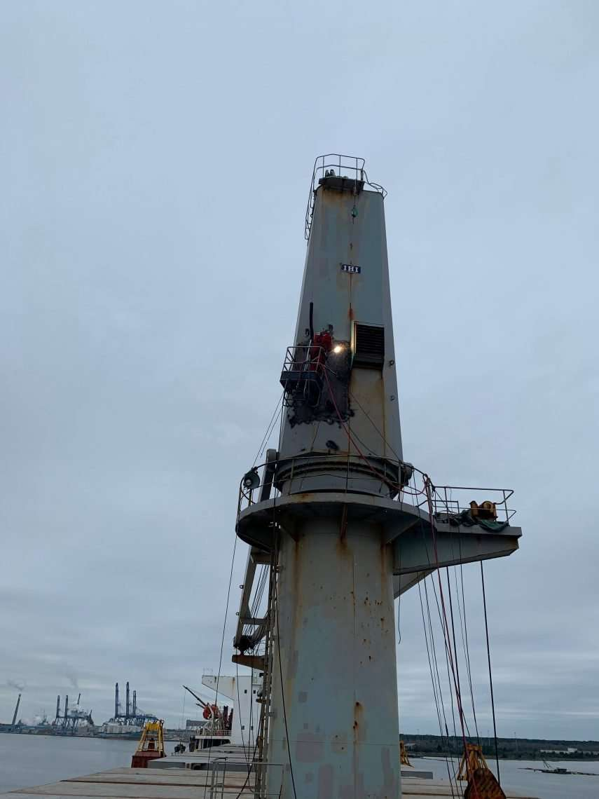 Jib and Tower Repairs for IHI deck crane in South Carolina